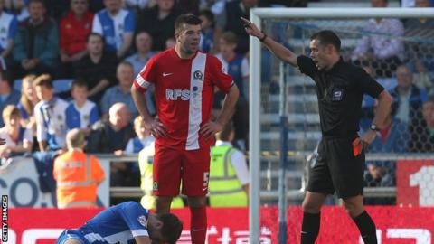 Grant Hanley is sent off in Blackburn's defeat at Wigan on Sunday