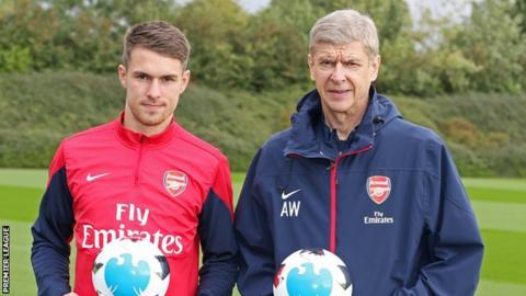 Arsenal midfielder Aaron Ramsey and manager Arsene Wenger