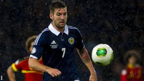 Charlie Mulgrew playing for Scotland