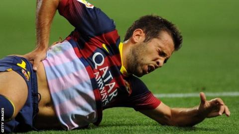 Jordi Alba out for six weeks