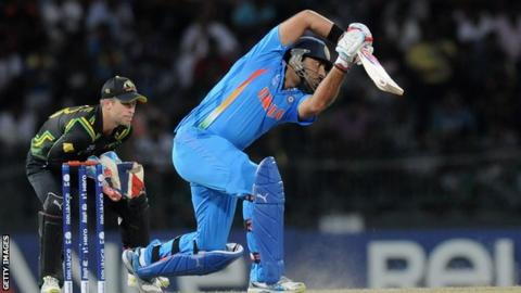 Yuvraj Singh batting for India agaisnt Australia