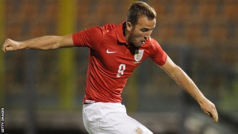 Tottenham striker Harry Kane scores for England Under-21s against San Marino