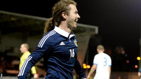 Stevie May scores on his debut for Scotland