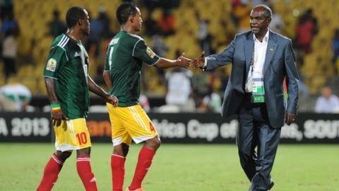 Sewnet Bishaw (right) with his Ethiopian players