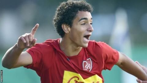 Bruno Conceicao celebrates after scoring for Desportivo Brasil against Newcastle United in the Premier Section decider