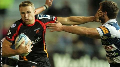 Tom Prydie looks to break through for the Dragons at Rodney Parade