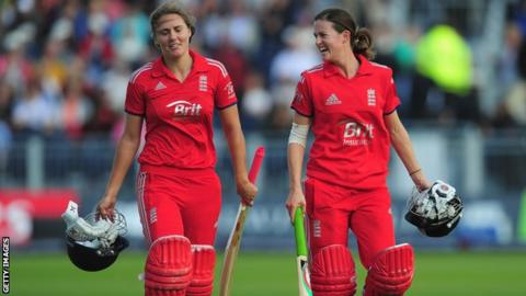 England's Natalie Sciver and Lydia Greenway
