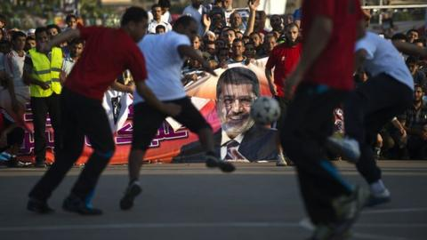 A football match on the street in Egypt