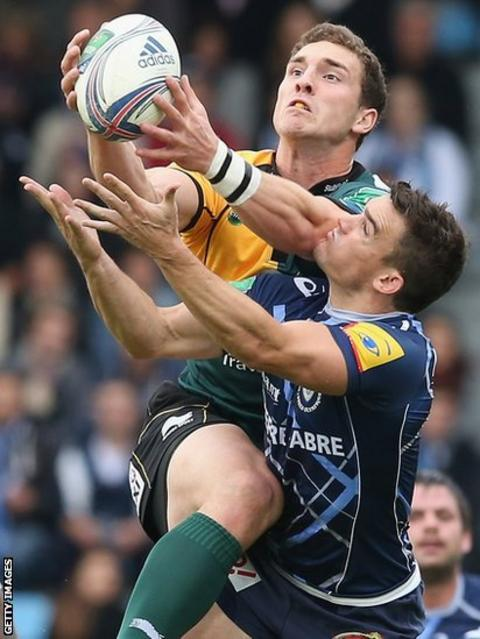 George North wins a high ball as Northampton take on Castres in France in the Heineken Cup