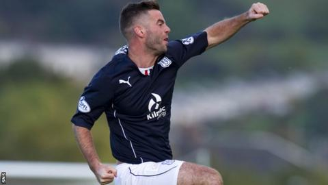 Dundee's Peter MacDonald celebrates a goal against Dumbarton