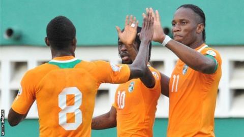 Ivory Coast internationals Salomon Kalou, Gervinho and Didier Drogba