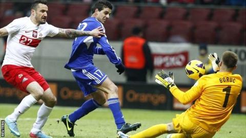 Poland goalkeeper Artur Boruc saves a ball against San Marino