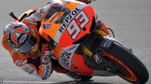 Marc Marquez during his second place in Sepang that leaves him 43 points clear in the MotoGP series