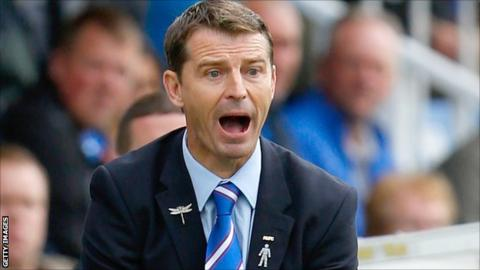 Colin Cooper gives orders to his Hartlepool players
