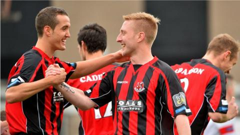 Chris Morrow scored one of Crusaders' goals in their 4-2 win over Ards in the Irish Premiership