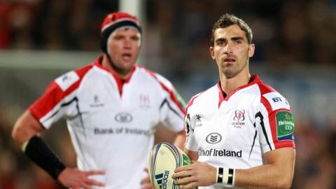 South African duo Johann Muller and Ruan Pienaar in action during Ulster's Heineken Cup pool win over Leicester Tigers