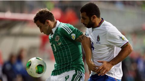 NI striker Martin Paterson and Israel's Mahir Sukurov battle for possession during the World Cup qualifier in Baku
