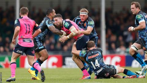 Cardiff Blues fight back against Exeter, with winger Alex Cuthbert claiming one of four tries by the visitors at Sandy Park