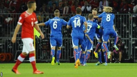 Iceland celebrate scoring against Switzerland
