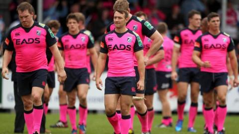 Cardiff Blues players following the defeat at Exeter Chiefs