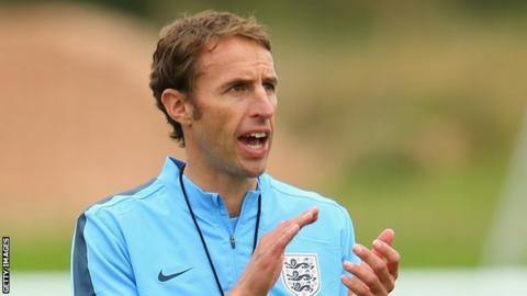 Gareth Southgate in England U21 training