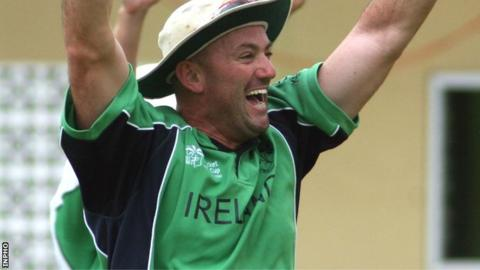 Jeremy Bray celebrates a wicket while playing for Ireland