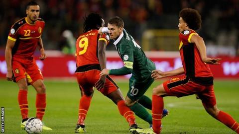 Wales' Aaron Ramsey in action against Belgium