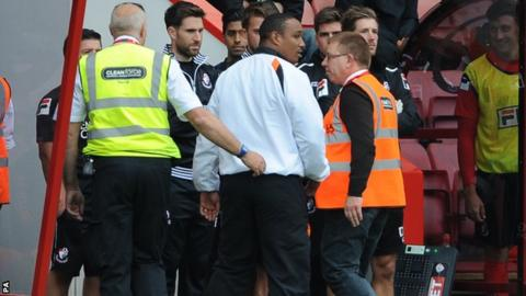 Paul Ince (centre) in sent-off during Blackpool's game at Bournemouth