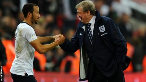 England manager Roy Hodgson shakes Andros Townsend's hand