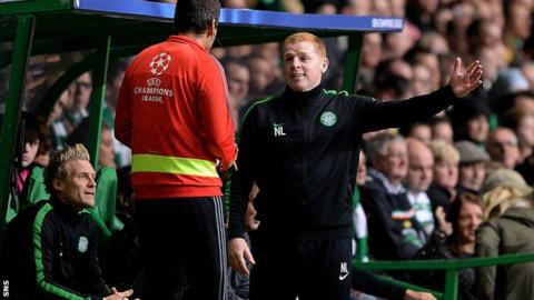 Celtic manager Neil Lennon protests about Scott Brown's red card during the Barcelona game