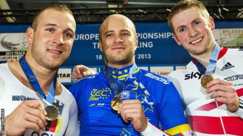 Jason Kenny (right) with his bronze medal at the European Track Championships