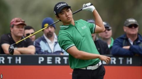 Jin Jeong plays a shot at the Perth International