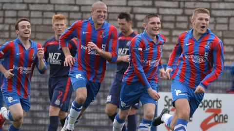 Andy Mitchell leads the celebrations after scoring for Ards in their 3-1 win over Portadown in the Irish Premiership