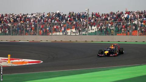 Mark Webber drives during the 2012 Indian Formula One Grand Prix at Buddh International Circuit