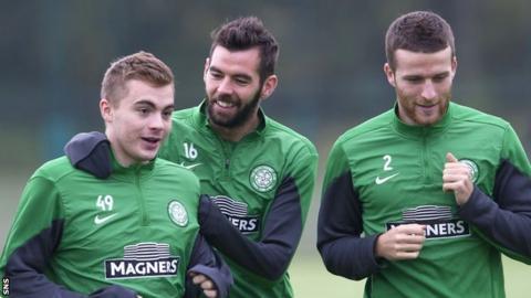 Celtic trio James Forrest, Joe Ledley and Adam Matthews