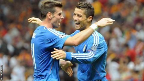 Real Madrid team-mates Gareth Bale (left) and Cristiano Ronaldo