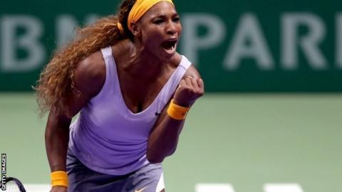 Serena Williams celebrates victory over Agnieszka Radwanska