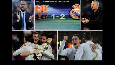 Pep Guardiola; the scoreline at full-time; Jose Mourinho; Real Madrid players celebrate