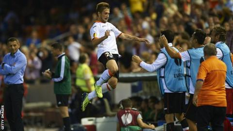 Valencia winger Federico Cartabia celebrates after scoring the second goal during the Europa League Group A match against St Gallen
