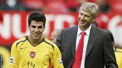 Cesc Fabregas (left) and Arsene Wenger