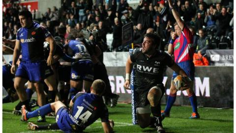 Hooker Scott Baldwin scores for the Ospreys in their victory in the Welsh derby against the Newport Gwent Dragons
