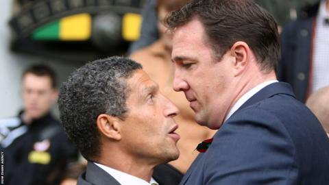 Norwich City manager Chris Hughton and Cardiff City boss Malky Mackay exchange views after the 0-0 draw at Carrow Road