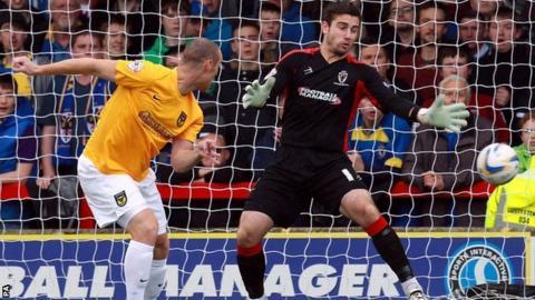 James Constable scores against AFC Wimbledon