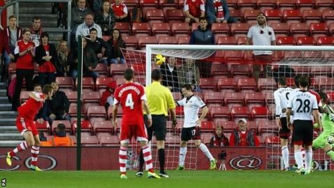 Rickie Lambert heads Southampton in front against Fulham