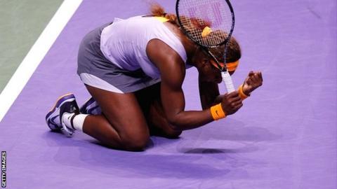 Serena Williams celebrates her WTA Championships triumph