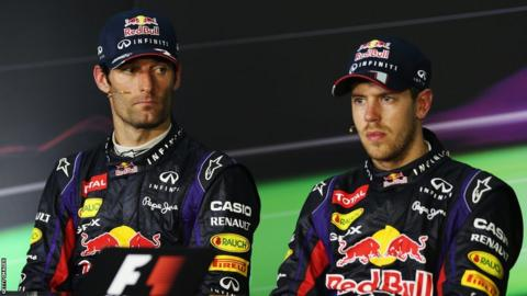 Mark Webber and Sebastian Vettel at the 2013 Malaysian Grand Prix