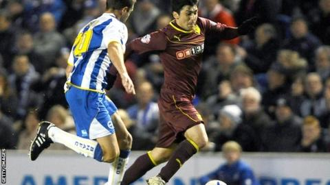 Watford striker Fernando Forestieri on the attack at the Amex