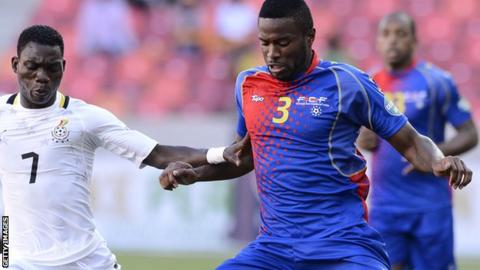 Cape Verde's Fernando Varela (right) fights for the ball with Christian Atsu of Ghana