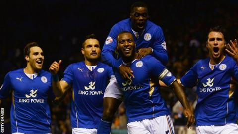 Leicester City celebrate victory over Fulham