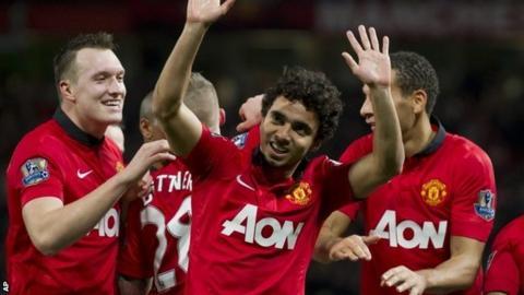 Fabio celebrates after scoring against Norwich